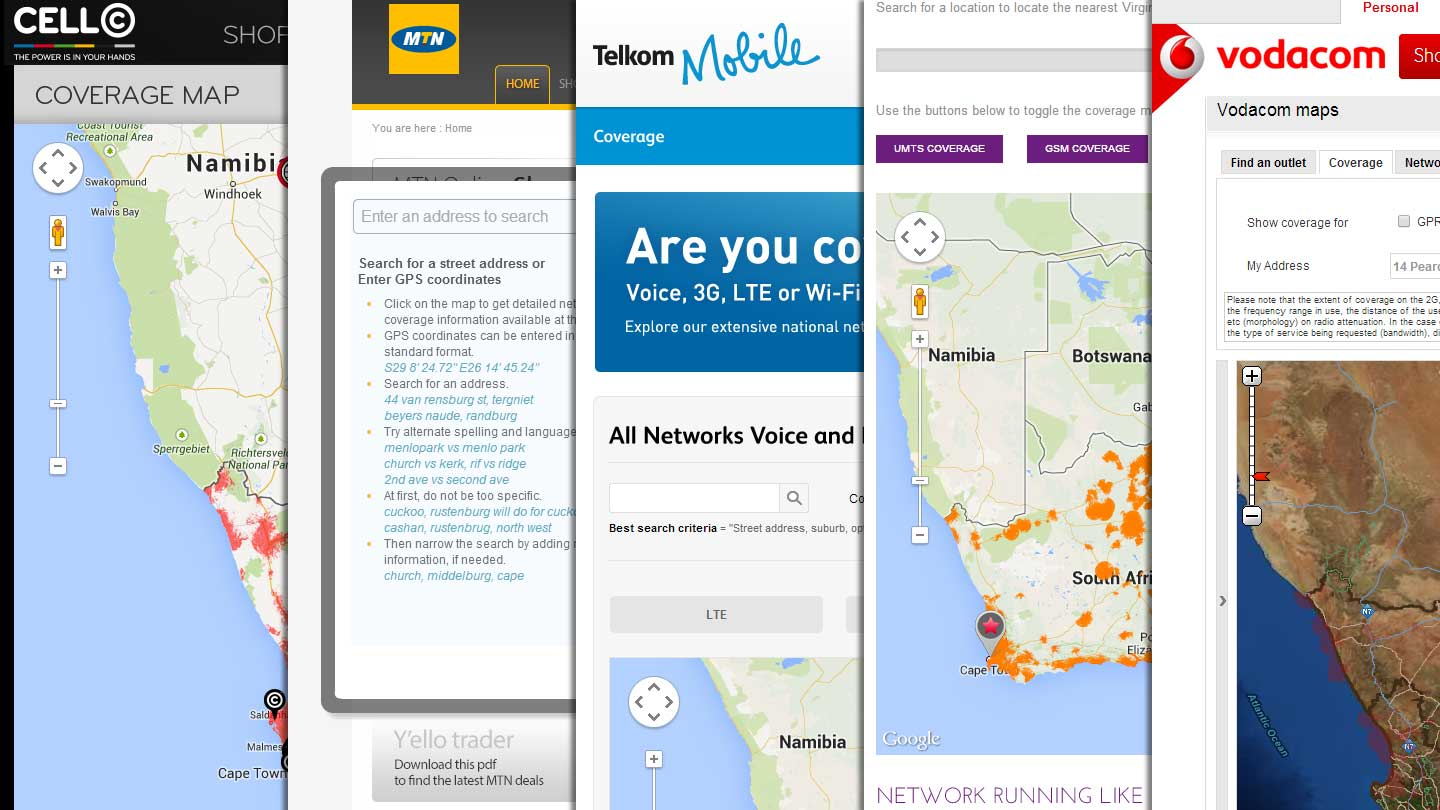 South African Cellphone Coverage Maps – Vodacom, Cell C, MTN, Virgin Mobile, 8ta/Telkom Mobile, Neotel/Liquid Telecom
